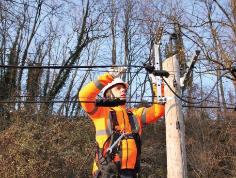 travail en hauteur poteau bois sur réseaux télécoms