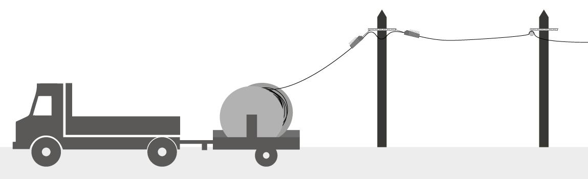 schéma d'une remorque porte touret de câble télécoms pour les réseaux de télécommunications aériens