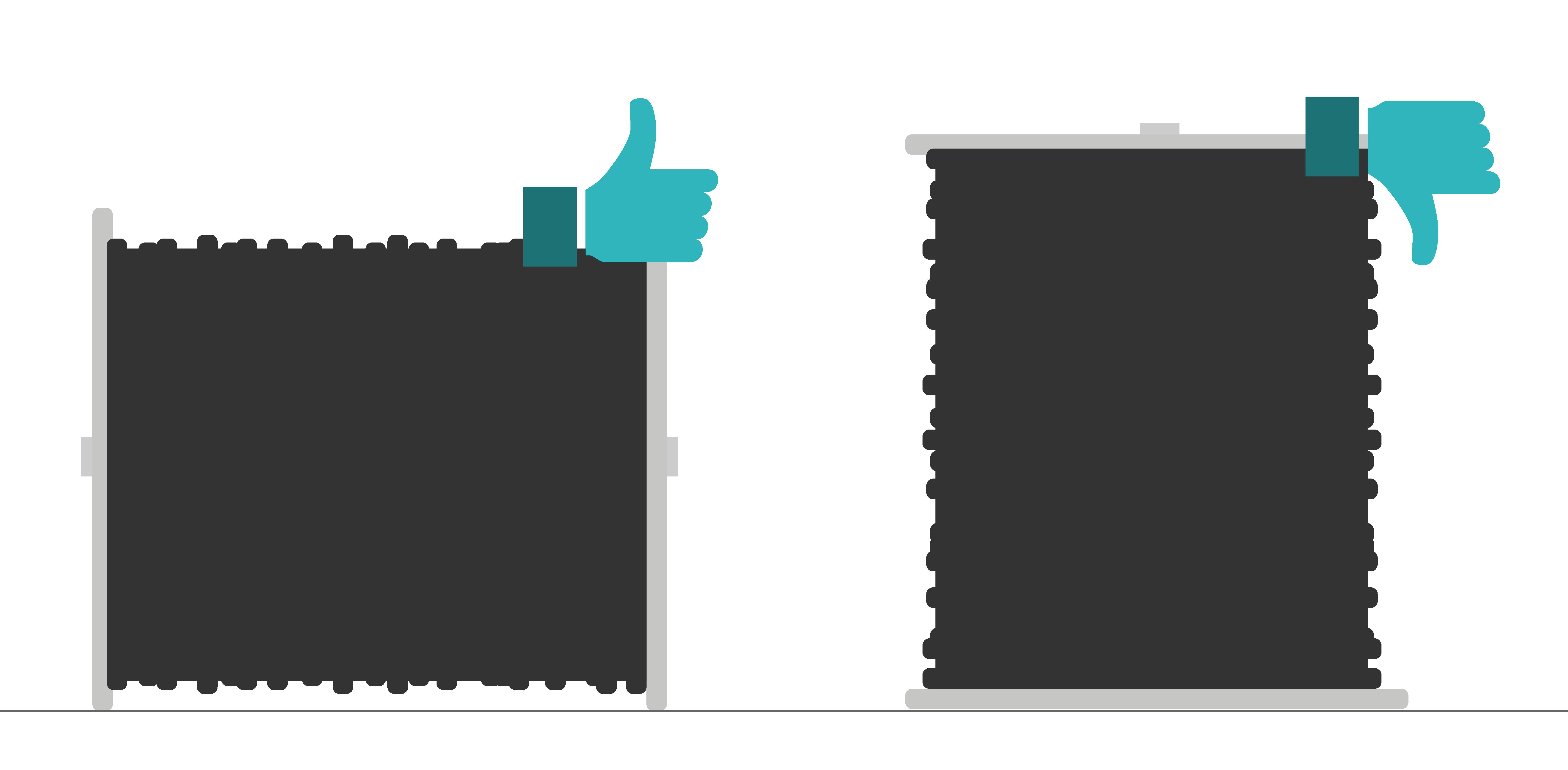 schéma de stockage d'un touret de câble télécoms : la pose horizontale du touret est recommandée
